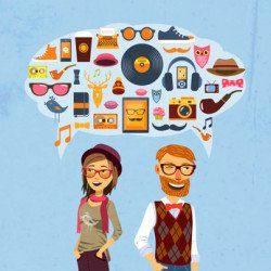 Hipster fashion concept with girl man and speech bubble with trendy icons  illustration